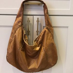 Kooba brass stud Claudia hobo weathered leather